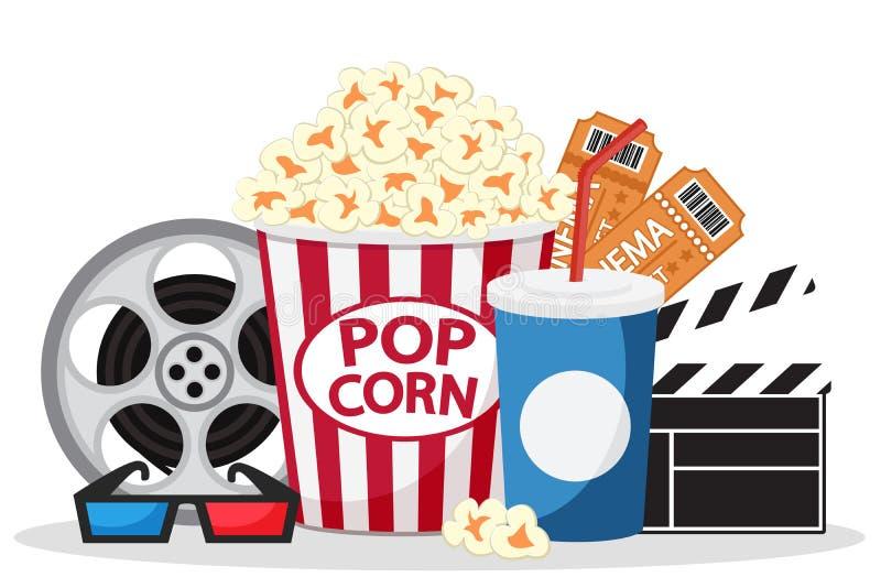 玉米花、票、汁液和玻璃在白色 设置在电影 库存例证