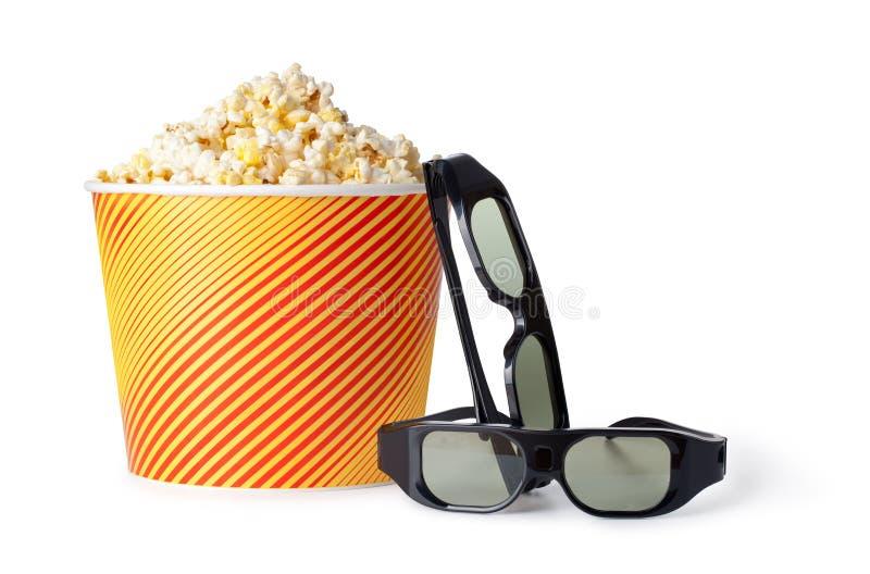 玉米花和3d玻璃 免版税库存图片