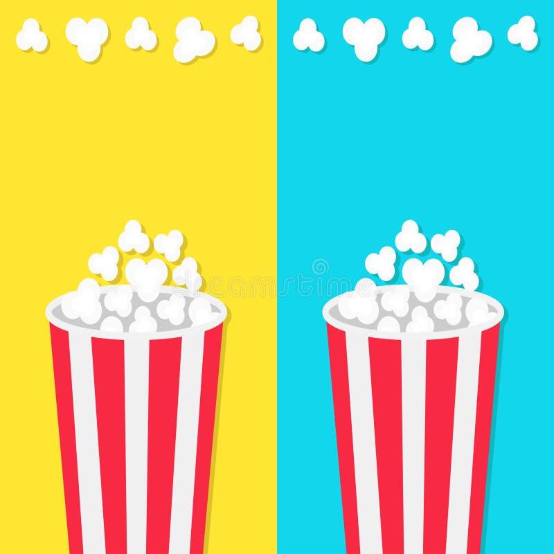 玉米花圆的桶箱子集合 电影在平的设计样式的戏院象 玉米花流行 快餐 蓝色和黄色背景临时雇员 皇族释放例证