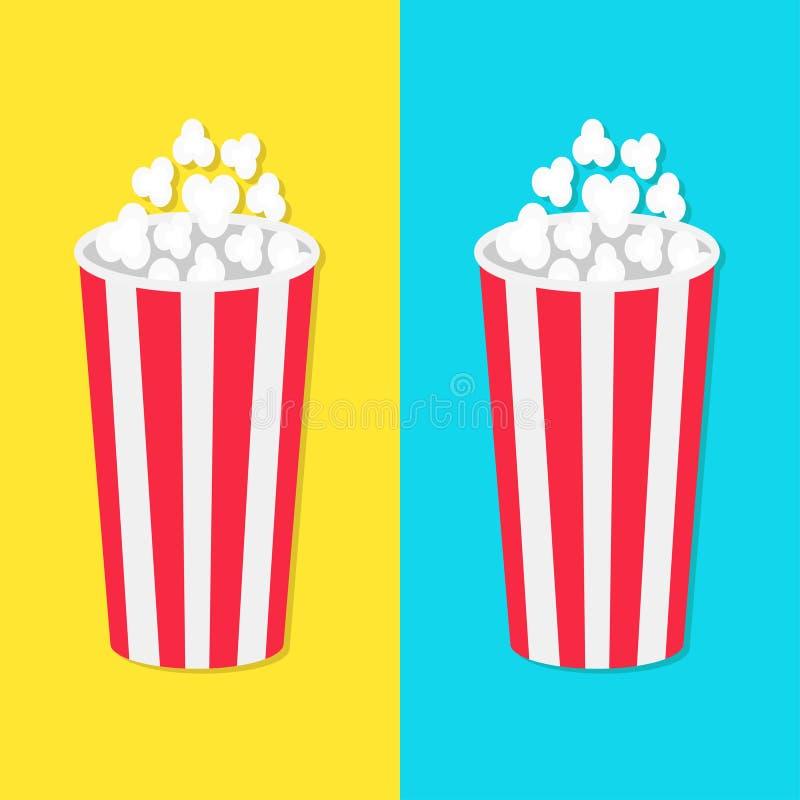 玉米花圆的桶箱子集合 电影在平的设计样式的戏院象 玉米花流行 快餐 蓝色黄色背景模板 库存例证