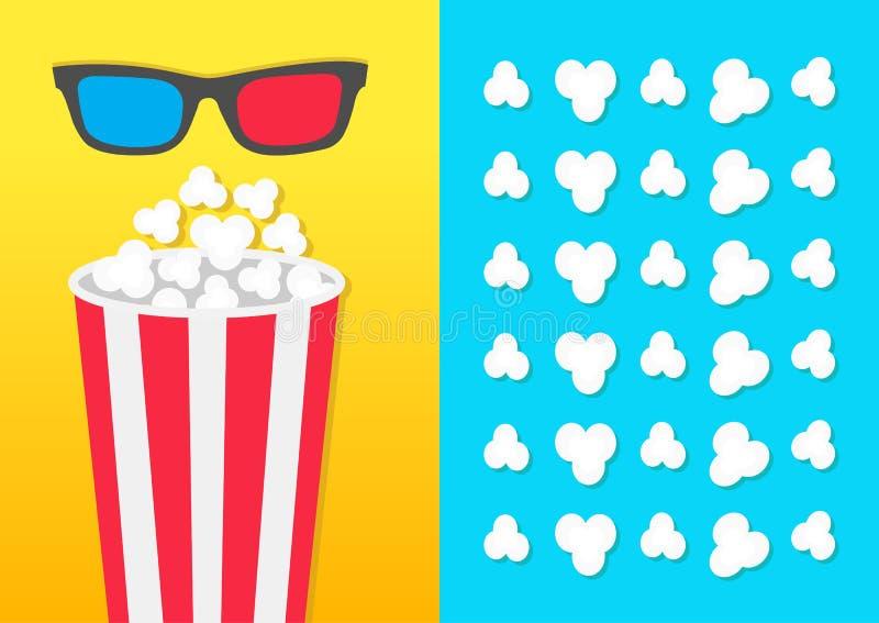 玉米花圆的桶箱子 3D红色蓝色玻璃 电影在平的设计样式的戏院象 玉米花流行的样式 蓝色黄色backg 向量例证