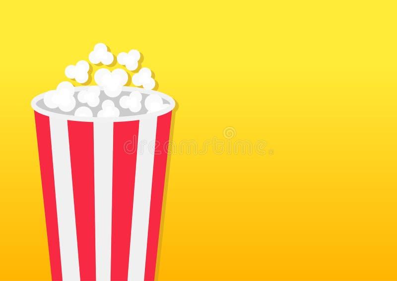 玉米花圆的箱子 电影在平的设计样式的戏院象 玉米花流行 左边模板 空的空间 黄色梯度后面 向量例证
