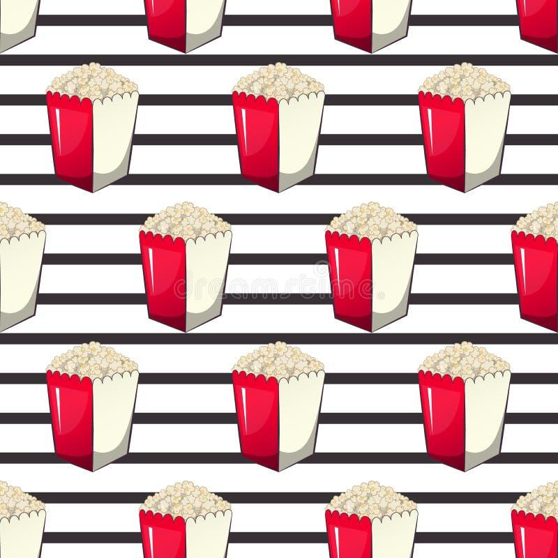 玉米花在您的产物的,开胃菜桶小条封皮箱子,当您观看电影时 模式 向量例证