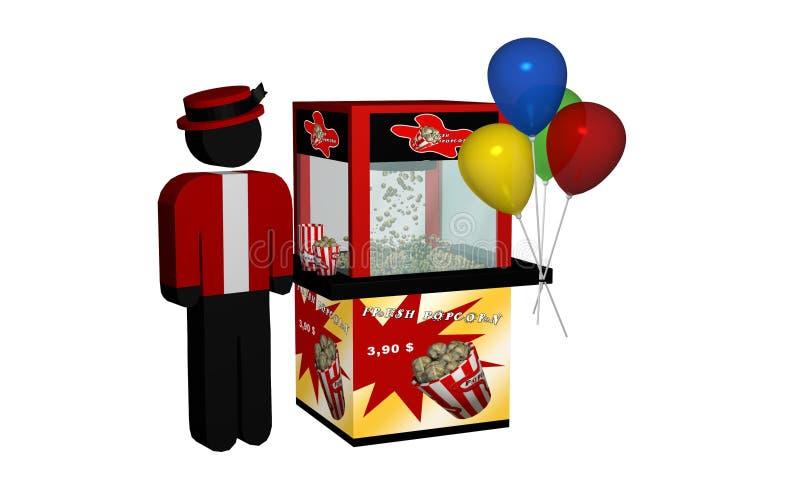 玉米花机器用新鲜的玉米花和气球和卖主isola 向量例证
