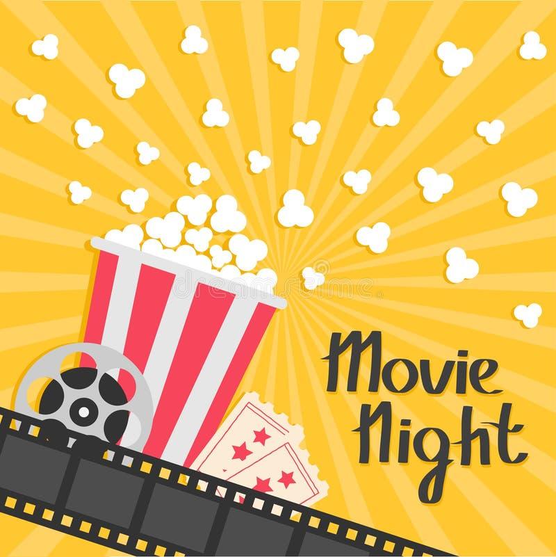玉米花流行 大电影卷轴 承认一张票 三星形 戏院在平的设计样式的电影象 影片小条边界 红色叫喊 库存例证