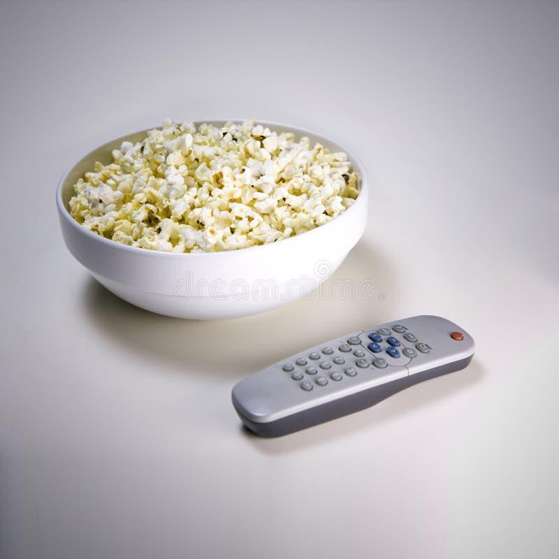 玉米花电视 图库摄影