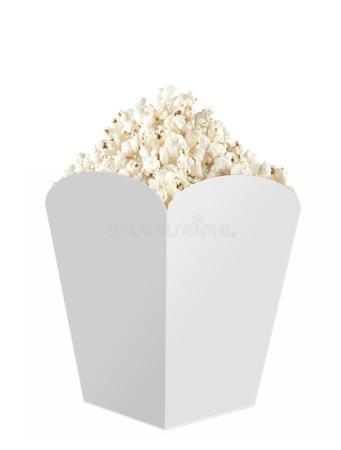 玉米花箱子充分与玉米花嘲笑 白色,清楚,空白,在白色背景,透视图的被隔绝的玉米花箱子 免版税库存图片
