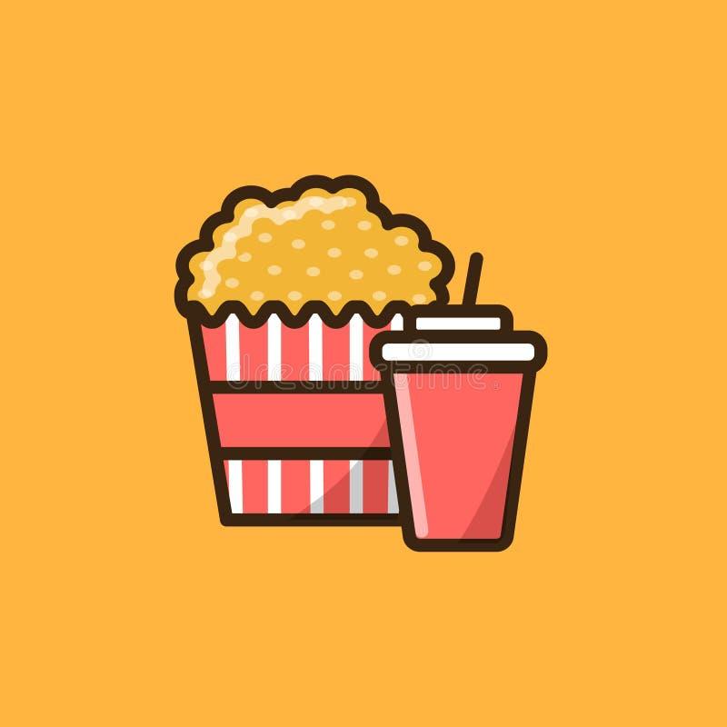 玉米花箱子和软饮料象 库存例证