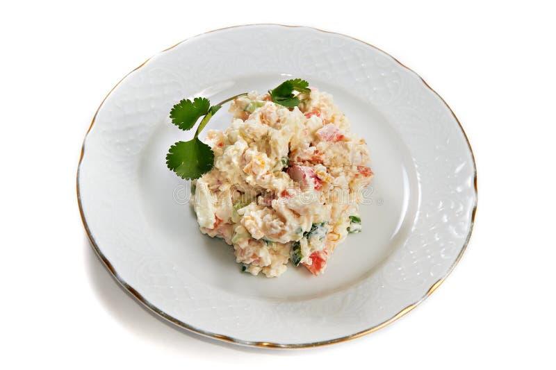 玉米螃蟹黄瓜土豆沙拉棍子 库存图片