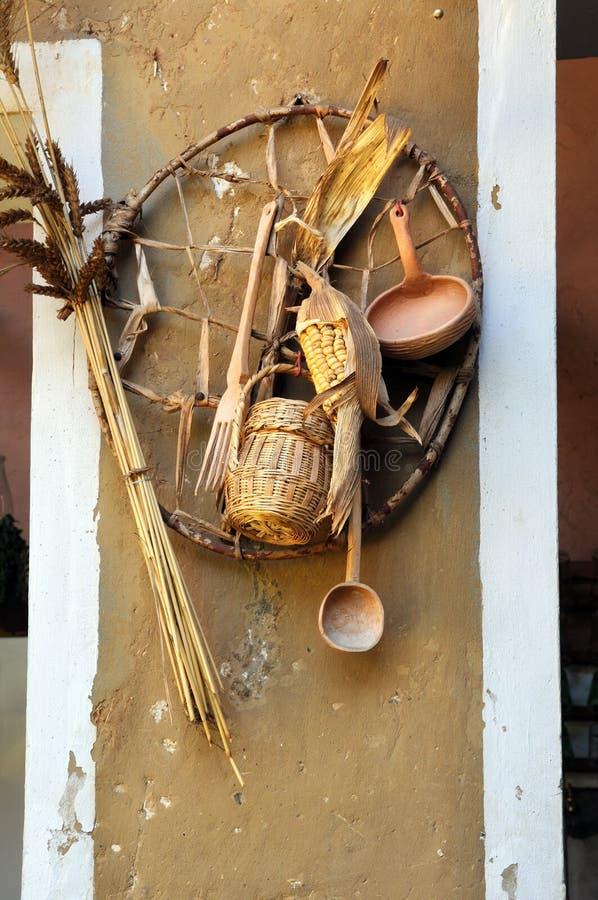 玉米装饰墙壁麦子 库存照片