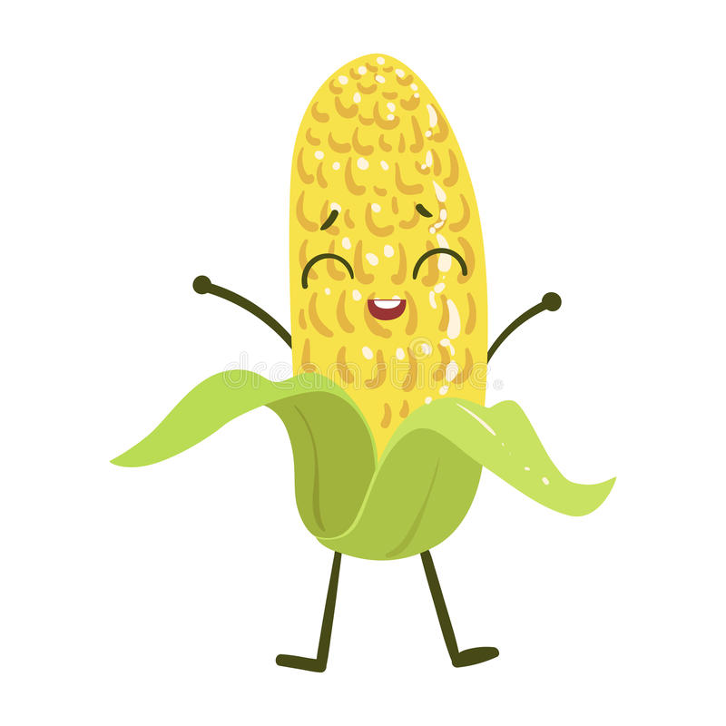 玉米逗人喜爱的芳香树脂被赋予人性的微笑的动画片菜食物字符Emoji传染媒介例证 库存例证