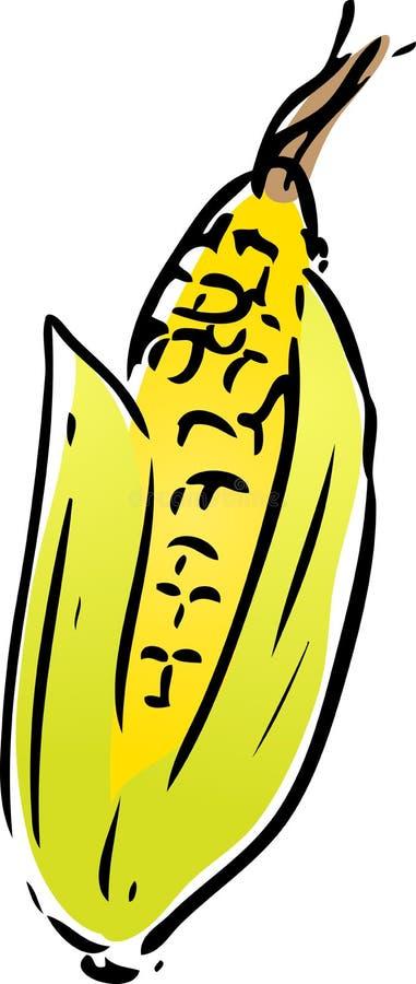 玉米lineart蔬菜 库存例证