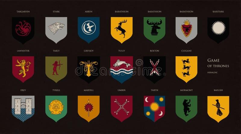 王位高尚的房子各种各样的比赛套纹章学标志或商标在黑暗的背景隔绝的 捆绑外套  皇族释放例证