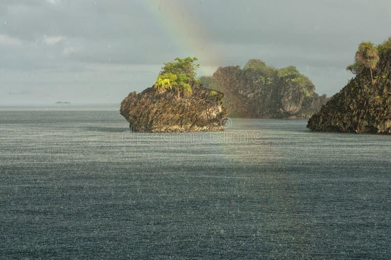 王侯Ampat巴布亚印度尼西亚巨大的全景风景 图库摄影
