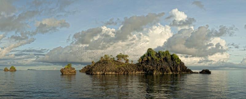 王侯Ampat巴布亚巨大的全景风景 免版税图库摄影