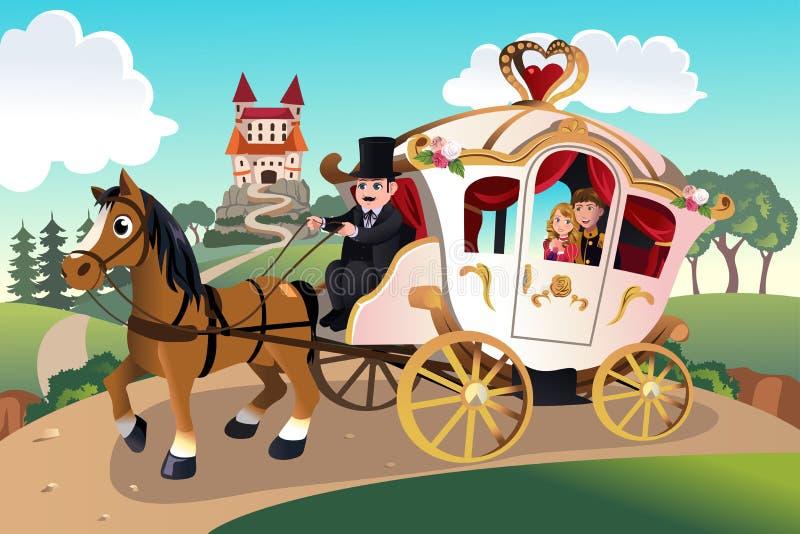 王子和公主马无盖货车的 向量例证