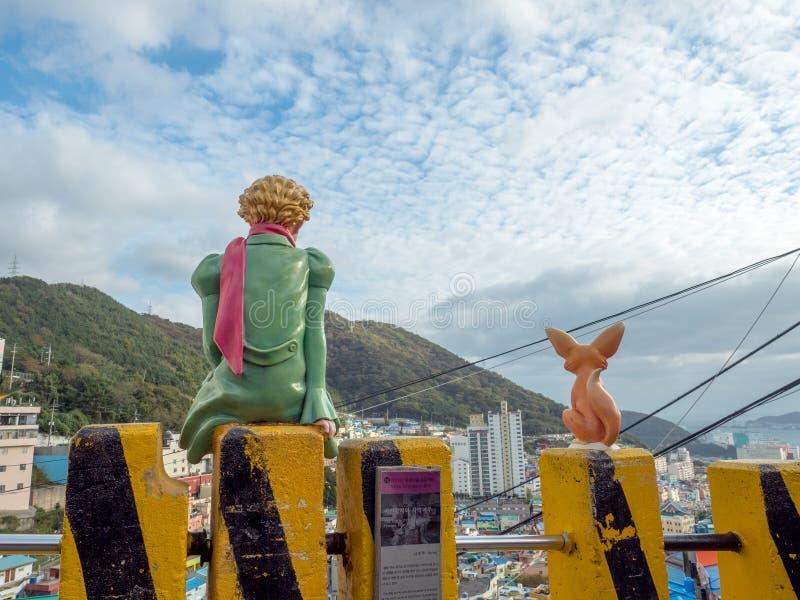 王子雕塑在Gamcheon文化村庄 免版税图库摄影