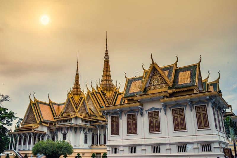 王宫在金边,柬埔寨王国 免版税库存照片