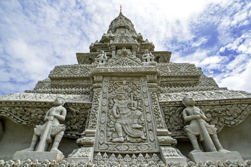 王宫-银色塔-金边-柬埔寨 免版税库存图片