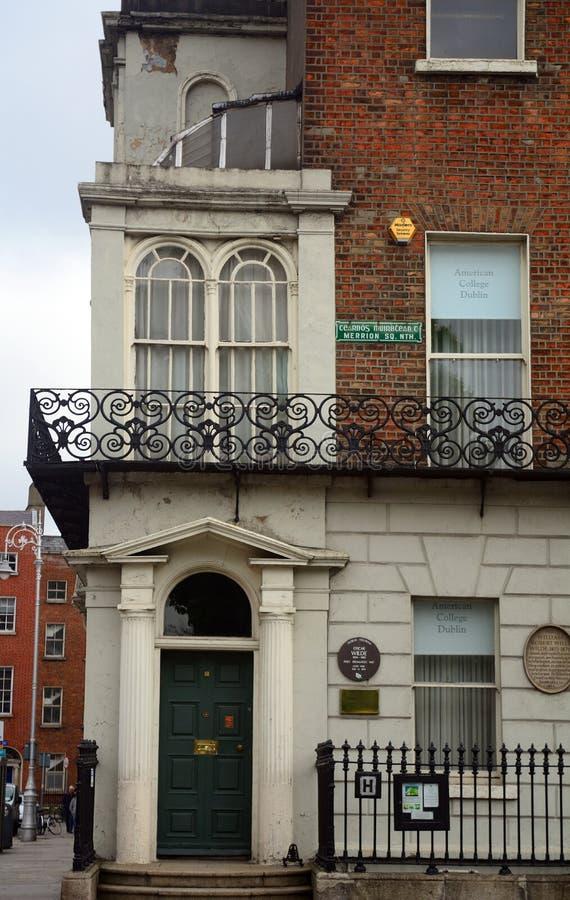 王尔德Merrion广场的,都伯林,爱尔兰` s房子 库存图片