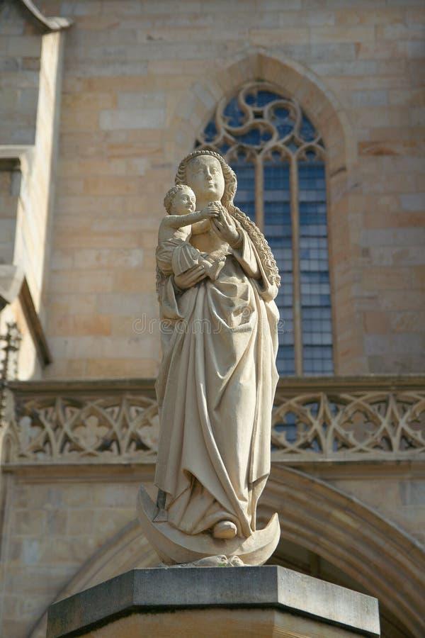 玛丹娜,圣玛丽的大教堂,埃福特雕象  图库摄影