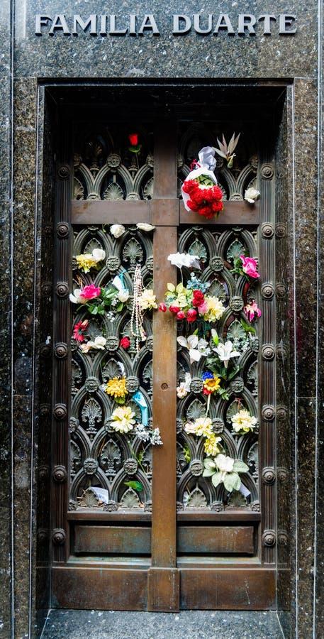 玛丽亚伊娃杜瓦特de庇隆坟茔  免版税库存照片