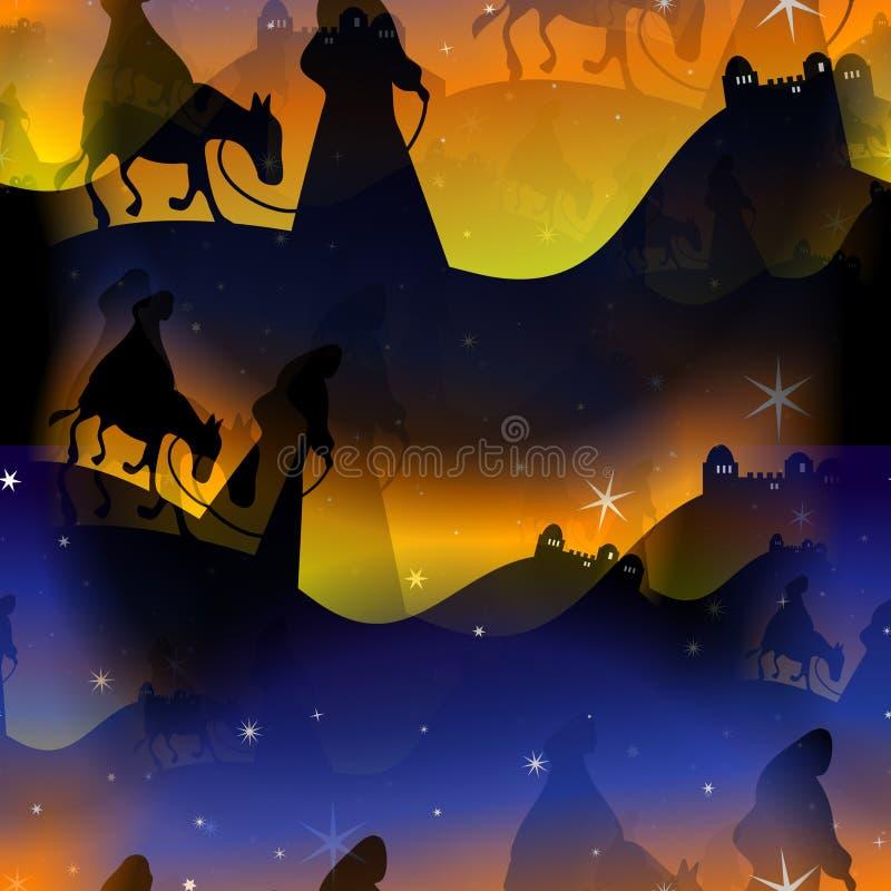 玛丽和约瑟夫圣诞节诞生背景 向量例证