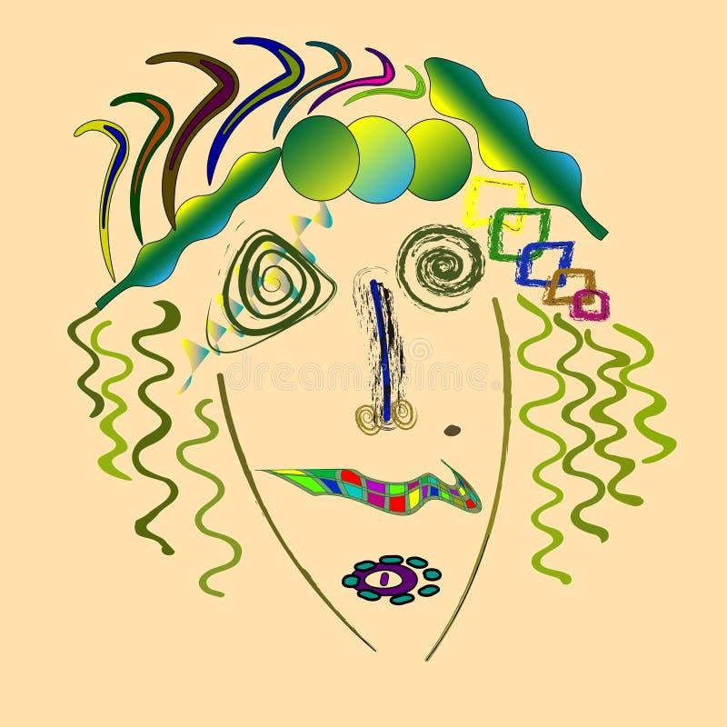 玛丽莲・梦露抽象画象,现代美国妇女60s抽象画象做了仿照suprematism样式 向量例证