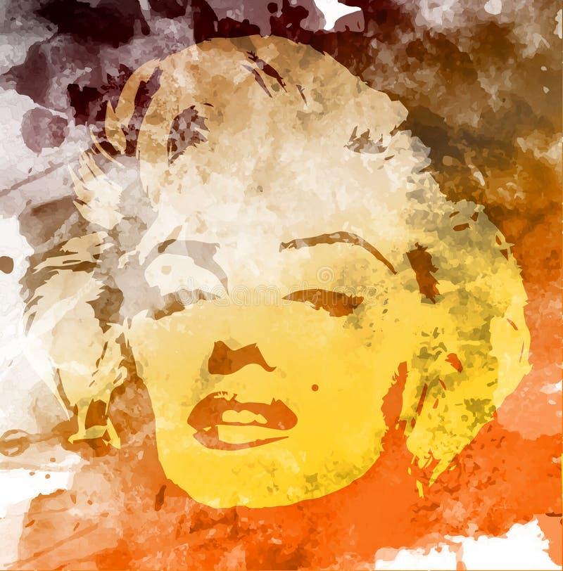 玛丽莲・梦露画象,水彩样式,在墙壁上的手图画 皇族释放例证