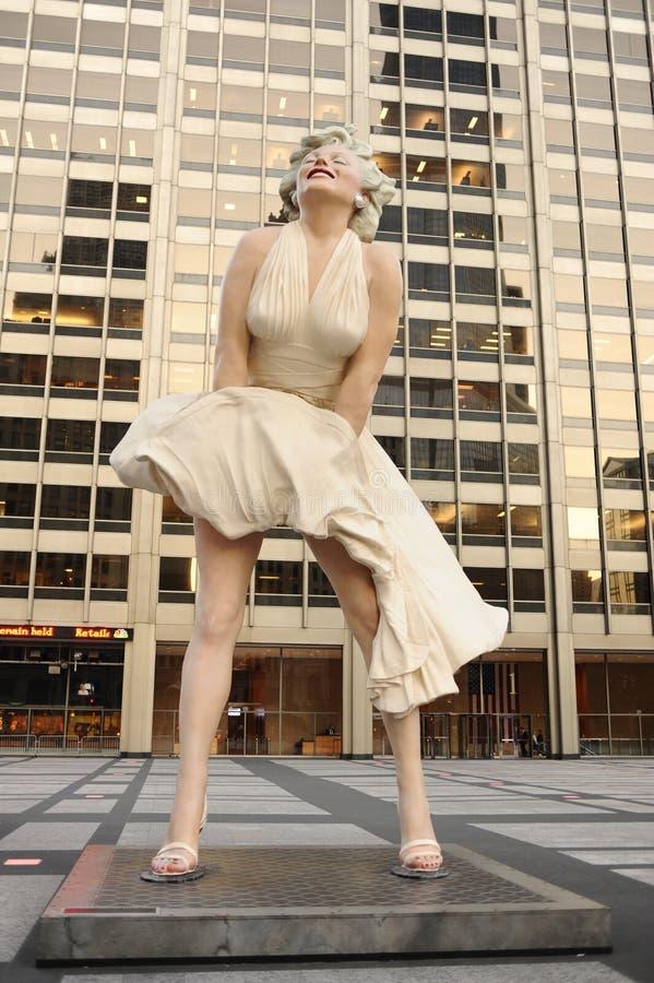 玛丽莲・梦露雕象在芝加哥 免版税库存照片