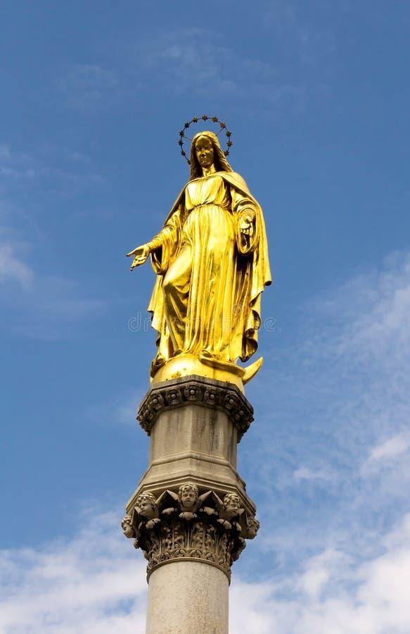 玛丽金黄雕象  免版税库存照片