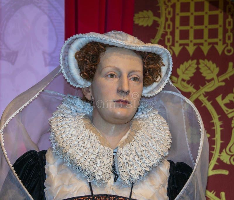 玛丽,苏格兰语(1542-1587)蜡象的女王/王后在杜莎夫人蜡象馆博物馆的 伦敦 图库摄影