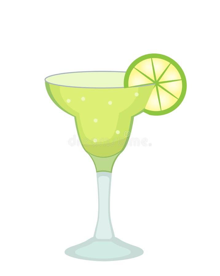 玛格丽塔的与石灰的鸡尾酒杯和龙舌兰酒切象舱内甲板,动画片样式 在白色背景隔绝的饮料 库存例证