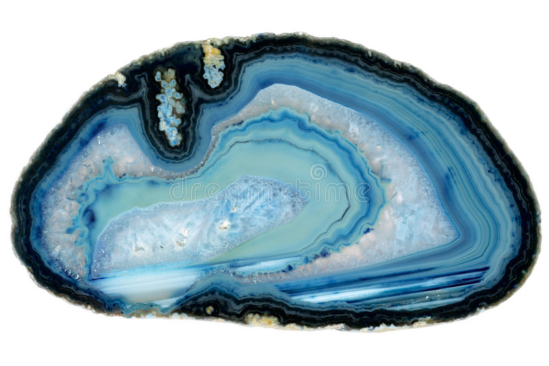 玛瑙蓝色水晶石头 免版税库存照片