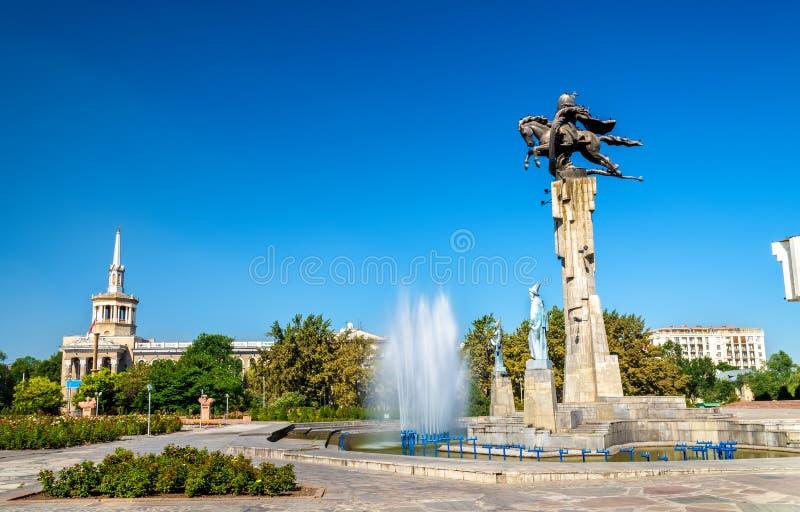 玛纳斯骑马纪念碑在比什凯克,吉尔吉斯斯坦共和国 库存照片