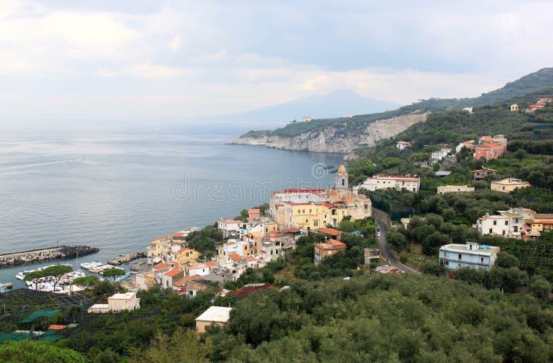玛萨Lubrense,阿马飞海岸,意大利 免版税库存照片