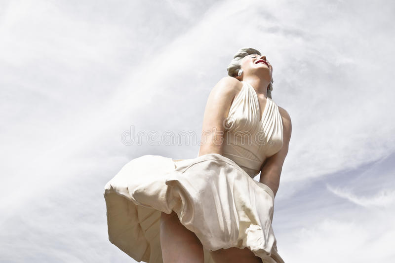 玛里琳・门罗雕象 免版税库存照片