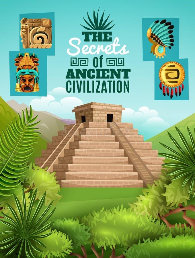 玛雅人动画片海报 向量例证