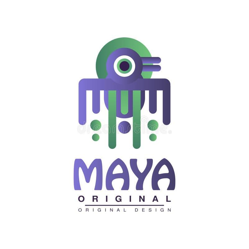 玛雅人原始的设计,在白色背景的美洲印第安人部族象征传染媒介例证 库存例证
