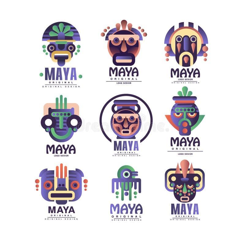玛雅人商标原始的设计集合,与种族面具,阿兹台克人的象征签署在白色背景的传染媒介例证 库存例证