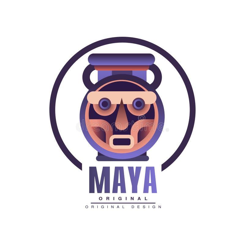 玛雅人商标原始的设计,在白色背景的部族象征传染媒介例证 向量例证