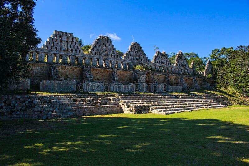 玛雅人寺庙废墟在尤加坦 库存图片