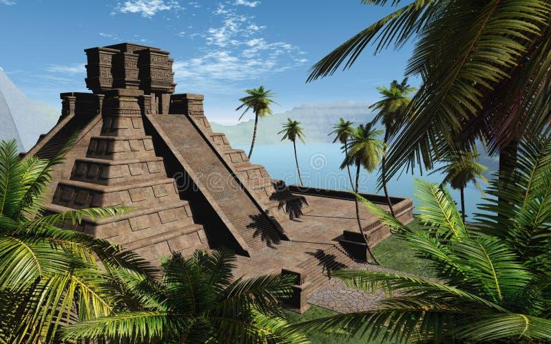 玛雅人寺庙 皇族释放例证