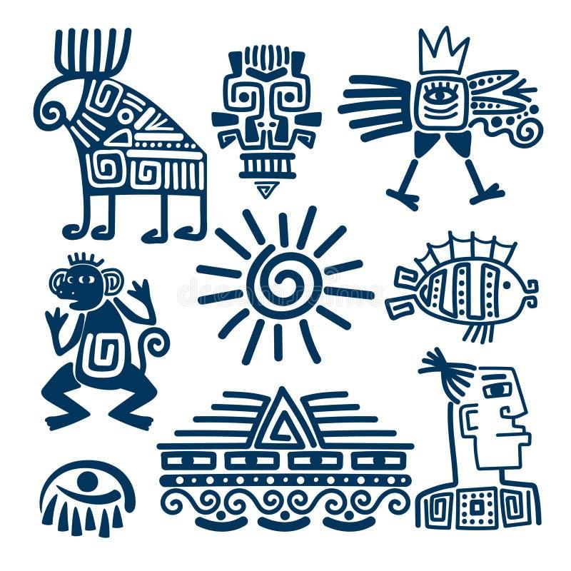 玛雅人或印加人蓝色图腾象 库存例证
