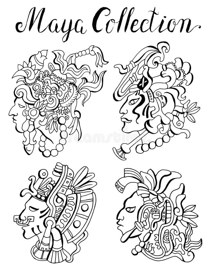 玛雅人战士画象有意想不到的发型的 皇族释放例证