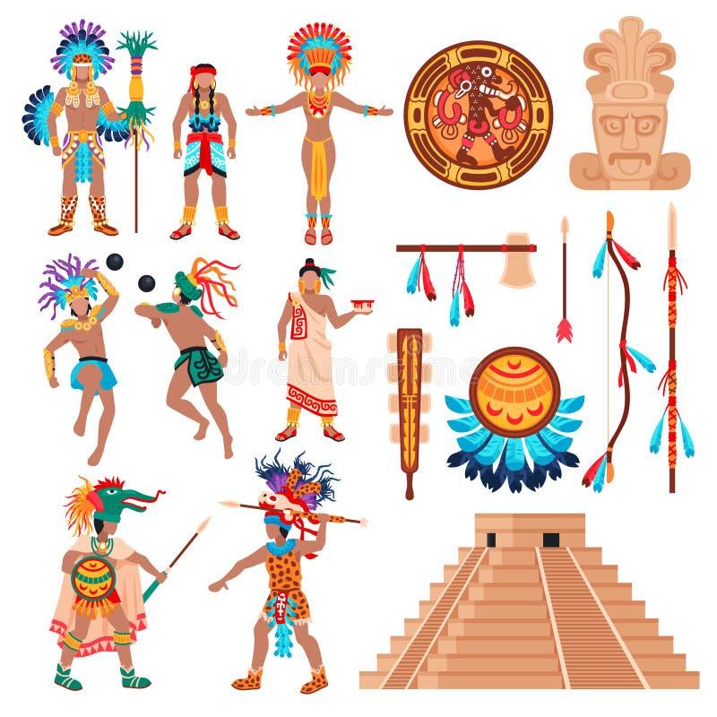 玛雅人文化元素集 库存例证