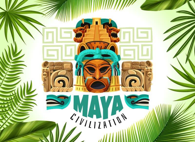 玛雅人文明水平的海报 向量例证
