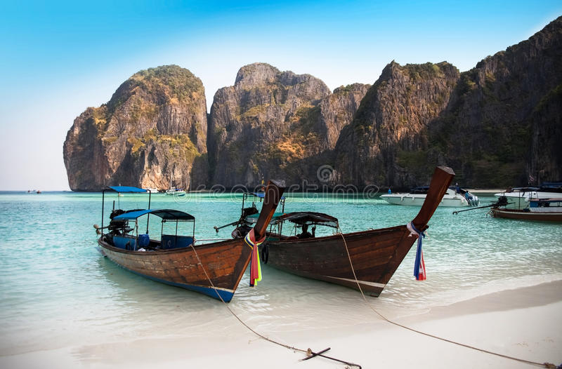 玛雅人海湾或Ao玛雅人, Krabi,最美丽的海滩在泰国 图库摄影
