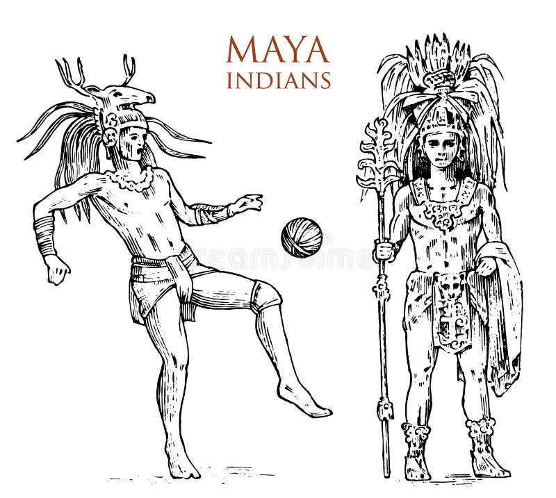 玛雅人葡萄酒样式 阿兹台克文化 人、传统服装和装饰的画象在头 当地部落 向量例证