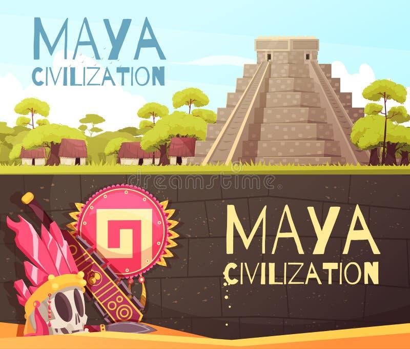 玛雅人被设置的动画片横幅 库存例证